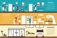 Πρώτων βοηθειών διαγνωστικών ασθενοφόρων επίπεδη διανυσματική απεικόνιση Ιστού έννοιας νοσοκομείων εσωτερική υπαίθρια Γιατρός, υγ Στοκ Φωτογραφίες