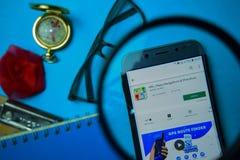 ΠΣΤ, χάρτες, ναυσιπλοΐα & κατευθύνσεις dev app με την ενίσχυση στην οθόνη Smartphone στοκ φωτογραφίες