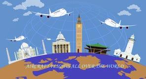 Πτήσεις αεροσκαφών σε όλο τον κόσμο απεικόνιση αποθεμάτων