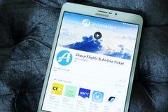 Πτήσεις Aviaseller, εισιτήριο κινητό app αερογραμμών Στοκ φωτογραφίες με δικαίωμα ελεύθερης χρήσης