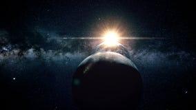 Πτήση μέσω των μετεωριτών μια θαυμάσια ηλιοφάνεια διάστημα Φεγγάρι ελεύθερη απεικόνιση δικαιώματος