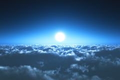 Πτήση νύχτας επάνω από τα σύννεφα Στοκ Εικόνες