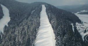 Πτήση πέρα από τα χειμερινά βουνά στις χιονοπτώσεις Κλίσεις σκι με το δάσος δέντρων πεύκων γύρω Διακοπές στο χιονοδρομικό κέντρο  απόθεμα βίντεο