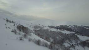 Πτήση πέρα από τα χιονισμένα βουνά το χειμώνα φιλμ μικρού μήκους