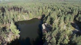 Πτήση πέρα από τη λίμνη με τους βράχους στο δάσος απόθεμα βίντεο
