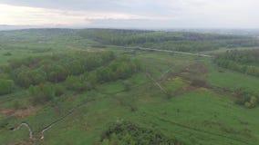 Πτήση πέρα από τους τομείς και τα λιβάδια κοντά στο δρόμο εναέρια όψη απόθεμα βίντεο