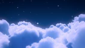 Πτήση πέρα από το νυχτερινό ουρανό απόθεμα βίντεο