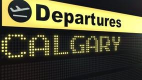 Πτήση στο Κάλγκαρι στο διεθνή πίνακα αναχωρήσεων αερολιμένων Ταξίδι στην εννοιολογική τρισδιάστατη απόδοση του Καναδά απεικόνιση αποθεμάτων