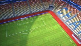Πτήση στο κενό γήπεδο ποδοσφαίρου απεικόνιση αποθεμάτων