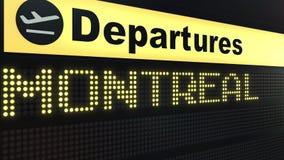 Πτήση στο Μόντρεαλ στο διεθνή πίνακα αναχωρήσεων αερολιμένων Ταξίδι στην εννοιολογική τρισδιάστατη απόδοση του Καναδά διανυσματική απεικόνιση