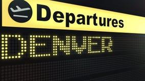 Πτήση στο Ντένβερ στο διεθνή πίνακα αναχωρήσεων αερολιμένων Ταξιδεύω στην Ηνωμένη εννοιολογική τρισδιάστατη απόδοση ελεύθερη απεικόνιση δικαιώματος