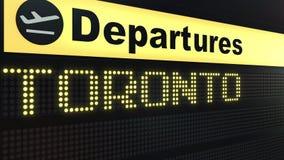 Πτήση στο Τορόντο στο διεθνή πίνακα αναχωρήσεων αερολιμένων Ταξίδι στην εννοιολογική τρισδιάστατη απόδοση του Καναδά διανυσματική απεικόνιση