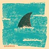 Πτερύγιο καρχαριών στον ωκεανό Εκλεκτής ποιότητας αφίσα στην παλαιά σύσταση εγγράφου Στοκ Εικόνες