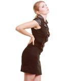 πτυχίου Νέα γυναίκα που πάσχει τον πόνο στην πλάτη που απομονώνεται από Στοκ φωτογραφία με δικαίωμα ελεύθερης χρήσης