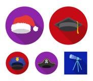 Πτυχιούχος, santa, αστυνομία, πειρατής Τα καπέλα καθορισμένα τα εικονίδια συλλογής στον επίπεδο Ιστό απεικόνισης αποθεμάτων συμβό Στοκ Φωτογραφίες