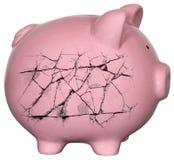 Πτωχεύσαντα χρήματα χρέους τράπεζας Piggy Στοκ Εικόνα