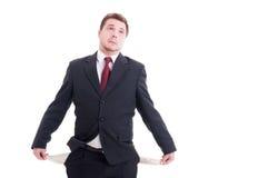 Πτωχεύσας, έσπασε ή φτωχός επιχειρηματίας, λογιστής και οικονομικό μΑ Στοκ Φωτογραφίες