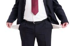Πτωχεύσας, έσπασε ή φτωχός επιχειρηματίας, λογιστής και οικονομικό μΑ στοκ εικόνα