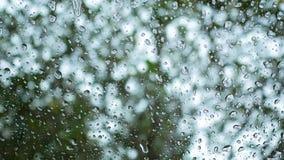 Πτώσεις βροχής στον εξωτερικό καθρέφτη με το θολωμένο υπόβαθρο και bokeh απόθεμα βίντεο
