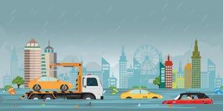 Πτώσεις δυνατής βροχής και πλημμύρα πόλεων στην άποψη πόλεων διανυσματική απεικόνιση