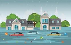 Πτώσεις δυνατής βροχής και πλημμύρα πόλεων στο σύγχρονο χωριό ελεύθερη απεικόνιση δικαιώματος