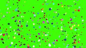 Πτώσεις κομφετί σε ένα πράσινο υπόβαθρο φιλμ μικρού μήκους