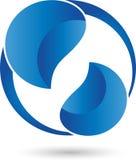 Πτώσεις νερού, πτώσεις στο μπλε, λογότυπο Στοκ Φωτογραφία