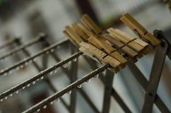Πτώσεις που κρεμούν, clothespins δαγκώνοντας στοκ εικόνες
