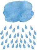 Πτώσεις σύννεφων και βροχής Watercolor Πτώσεις σύννεφων και βροχής Watercolor Πτώση σύννεφων βροχής (Nimbus) με τις πτώσεις βροχή Στοκ Εικόνες