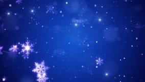 Πτώσεις χιονιού και διακοσμητικά snowflakes Χειμώνας, Χριστούγεννα, νέο έτος τρισδιάστατη ζωτικότητα απόθεμα βίντεο