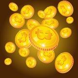 Πτώσεις Bitcoin Χρυσά νομίσματα με το σύμβολο bitcoin που απομονώνεται στο μαύρο υπόβαθρο Ψηφιακό νόμισμα ή Cryptocurrency για Στοκ φωτογραφία με δικαίωμα ελεύθερης χρήσης