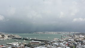 Πτώση και χιονοθύελλα ισχυρής χιονόπτωσης στη Ιστανμπούλ φιλμ μικρού μήκους