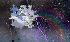 Πτώση κομματιών γρίφων από το νυχτερινό ουρανό που αποκαλύπτει την ημέρα με το ουράνιο τόξο και Στοκ Εικόνες
