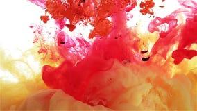 Πτώση μελανιού χρώματος στο νερό κίτρινος κόκκινο, πορτοκαλί, ιώδες χρώμα που διαδίδεται φιλμ μικρού μήκους