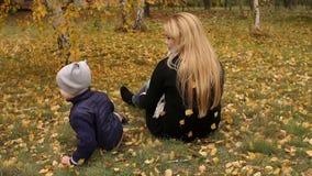 Πτώση μητέρων και αγοριών στο έδαφος στο πάρκο φθινοπώρου απόθεμα βίντεο