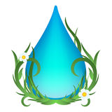 Πτώση νερού με τα πράσινες φύλλα, τα λουλούδια και τη χλόη Διανυσματική απεικόνιση οικολογίας στο άσπρο υπόβαθρο Στοκ Εικόνες
