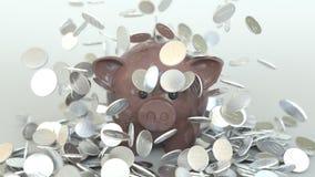 Πτώση νομισμάτων στη piggy τράπεζα Εννοιολογική τρισδιάστατη ζωτικότητα φιλμ μικρού μήκους