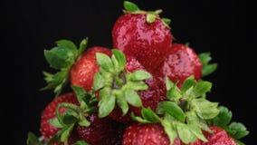 Πτώση σταγόνων βροχής σε έναν περιστρεφόμενο σωρό της ώριμης φράουλας   απόθεμα βίντεο