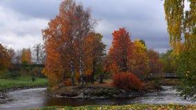 Πτώση φθινοπώρου στο πάρκο πόλεων φιλμ μικρού μήκους