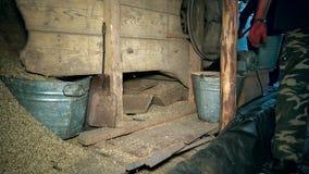 Πτώση φλοιού και αχύρου από το σιτάρι που κοσκινίζει τη μηχανή άτομα αγροτών που εργάζονται στην αγροτική σιταποθήκη απόθεμα βίντεο