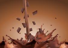 Πτώση φραγμών σοκολάτας στη σοκολάτα Στοκ Φωτογραφίες