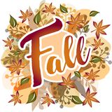 Πτώση - φύλλα φθινοπώρου γύρω από το έμβλημα ελεύθερη απεικόνιση δικαιώματος
