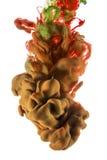 Πτώση χρώματος ιώδες και ρόδινο μελάνι στο άσπρο υπόβαθρο Ocher και κόκκινο Στοκ Εικόνα