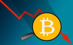 Πτώση Bitcoin με το κόκκινο βέλος πωλήσεων κάτω απεικόνιση αποθεμάτων
