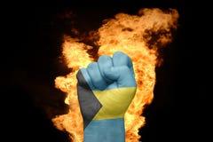 Πυγμή πυρκαγιάς με τη εθνική σημαία των Μπαχαμών Στοκ Εικόνες