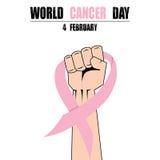 Πυγμή χεριών πάλης κατά του καρκίνου, ρόδινη κορδέλλα, διάνυσμα συμβόλων συνειδητοποίησης καρκίνου του μαστού απεικόνιση αποθεμάτων