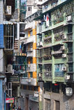 Πυκνά εποικημένες παλαιές μονάδες διαμερισμάτων στο Μακάο, Κίνα Στοκ εικόνες με δικαίωμα ελεύθερης χρήσης