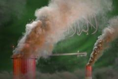 Πυκνός καπνός των βιομηχανικών καπνοδόχων στη σημαία της Σαουδικής Αραβίας - σφαιρική έννοια θέρμανσης, υπόβαθρο με το διάστημα γ απεικόνιση αποθεμάτων