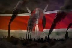 Πυκνός καπνός των καπνοδόχων εγκαταστάσεων στη σημαία της Κένυας - σφαιρική έννοια θέρμανσης, υπόβαθρο με το διάστημα για το περι διανυσματική απεικόνιση