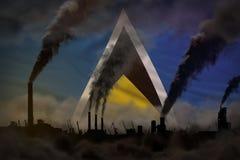 Πυκνός καπνός των καπνοδόχων εργοστασίων στη σημαία Αγιών Λουκία - σφαιρική έννοια θέρμανσης, υπόβαθρο με τη θέση για το κείμενό  ελεύθερη απεικόνιση δικαιώματος